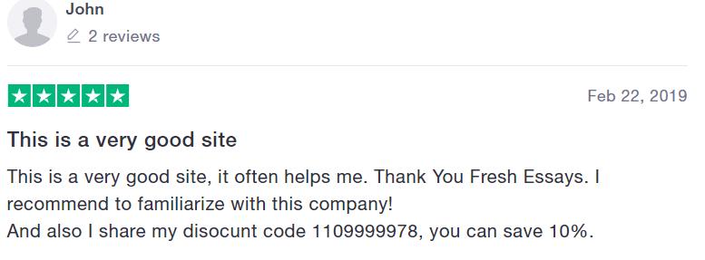 FreshEssays Customer Reviews