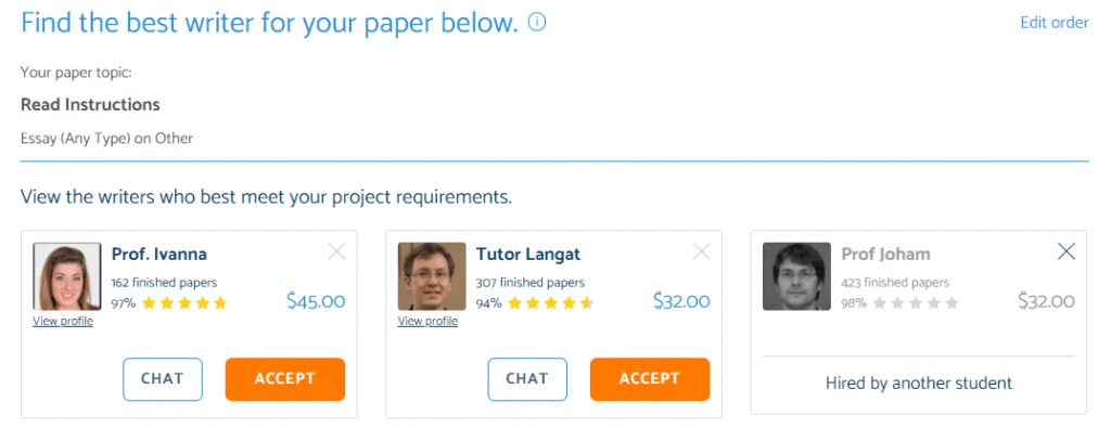 PapersOwl Bidding system